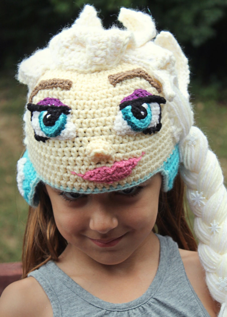 Toddler Tutorial Crochet Hat Pattern with Tutorial and Instructions Disney Frozen Queen Elsa Costume Crochet PATTERN PDF Instant Download