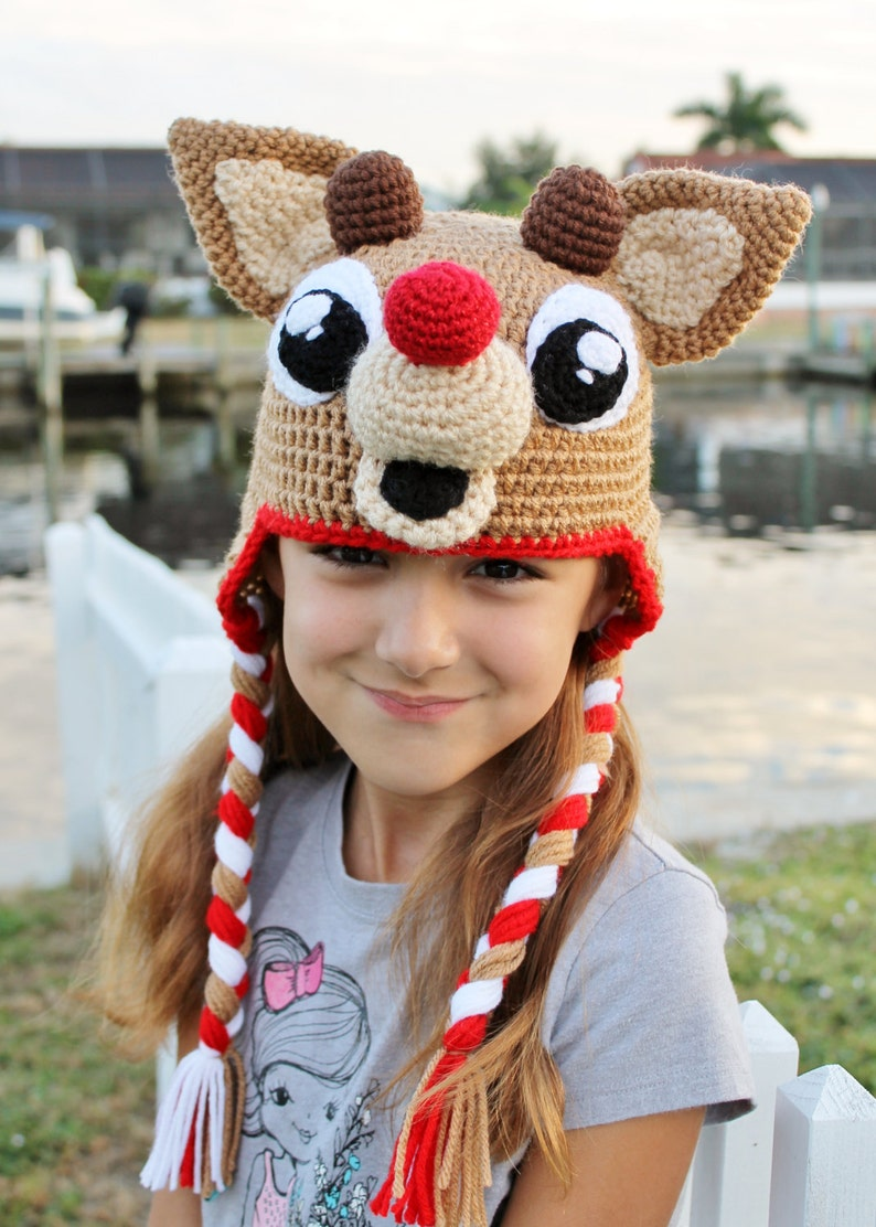 Rudolph the Red Nosed Reindeer Crochet Hat Pattern  Christmas image 0