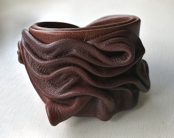 Brown leather handmade bracelet