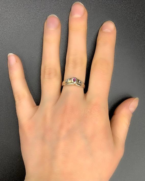 Looped Ruby *** Handmade Ruby Ring Sterling Silve… - image 1