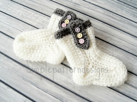 Crochet Pattern Baby Socks Baby Bootiesquick And Easy Etsy