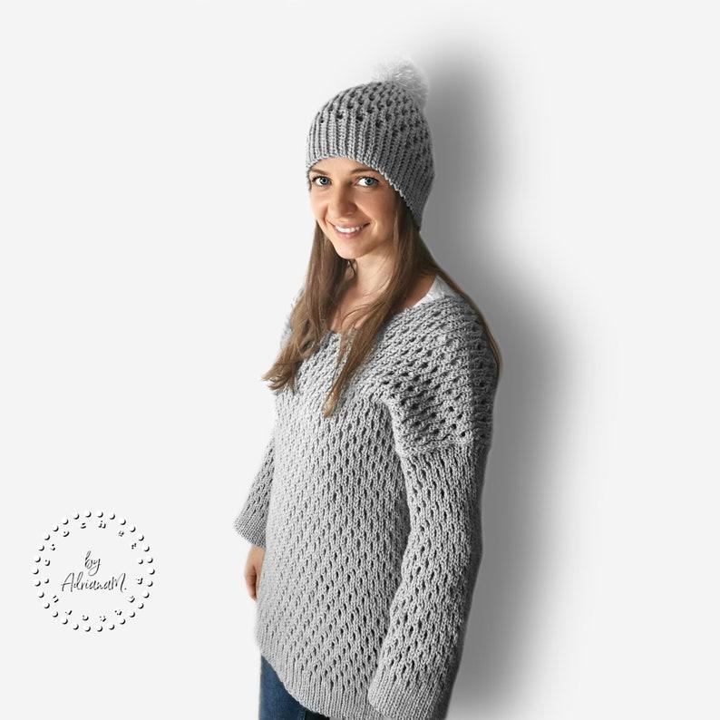 CROCHET PATTERN BELLA knit-look sweater,jumper,pullover,V-neck,loose fit,adult,woman,teen,winter,instant download,tutorial