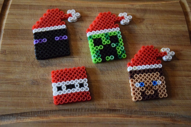 Minecraft inspired Steve Enderman TNT and Creeper pixeled Christmas  ornaments set of 4