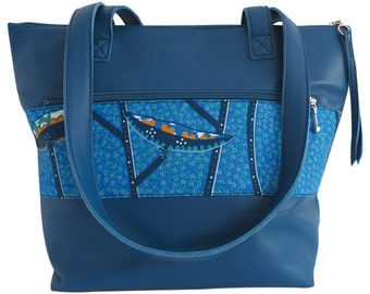 Leather - blue tote bag