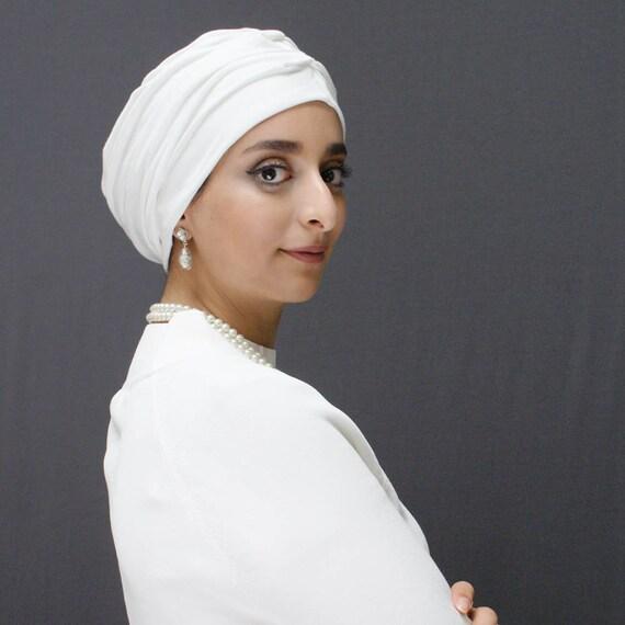 Cream wear to work urban hijab, stretch turban, women\u0027s turban, ready  turban for the modern modest , hijab to wear over long hair