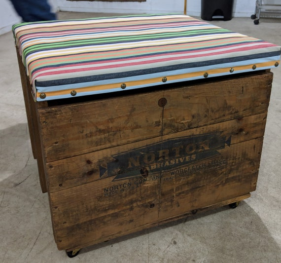 Astounding Storage Vintage Wooden Box Crate Bench Seat Multicolored Striped Fabric On Cushion Hinged Lid Caraccident5 Cool Chair Designs And Ideas Caraccident5Info