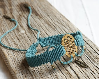 turquoise macrame choker with golden flower of life and feather, boho, leaf of life
