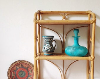 Vintage bamboo shelf unit