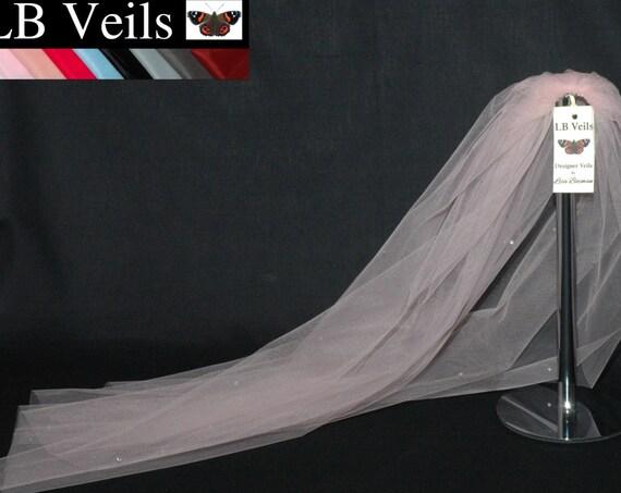 1 Single Tier Crystal Wedding Veil LB Veils LBV158 UK