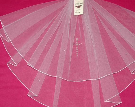 2 Tier Crystal Holy Communion Veil LB Veils LBV139 UK