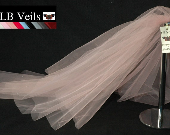 2 Tier Crystal Blush Pink LB Veils 151 UK