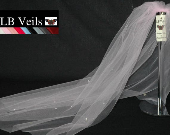 1 Single Tier Crystal Flowers Wedding Veil LB Veils LBV37.s UK