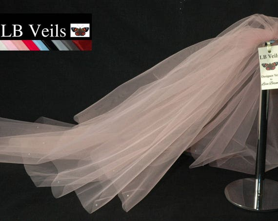 2 Tier Crystal Blush Pink LB Veils 151 UK