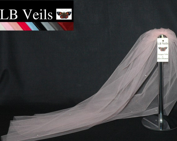 1 Single Tier Crystal Wedding Veil Blush Pink LB Veils LBV158 UK