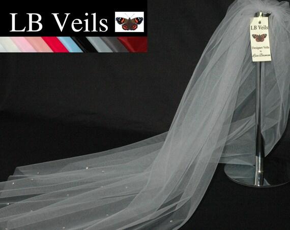 1 Single Tier Crystal Silver Grey LB Veils 158 UK