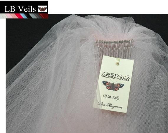 2 Tier Plain Soft Pink LB Veils 156 UK