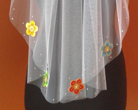 Flower Veil Wedding Crystal Diamante UK White Ivory Cream Grey Blue LBV206 UK