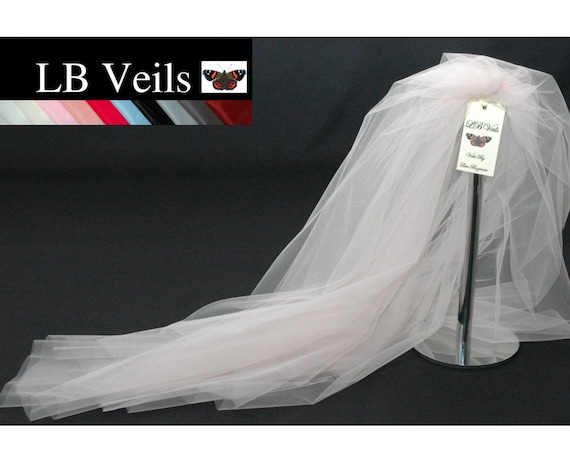 2 Tier Plain Soft Pink Wedding Veil LB Veils 156 UK