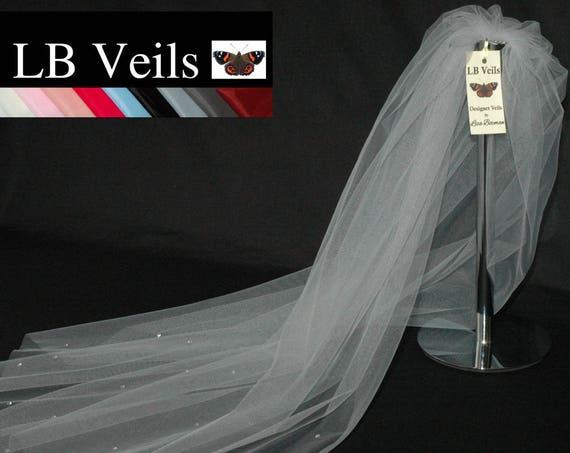 1 Tier Crystal Grey Wedding Veil LB Veils LBV158 UK