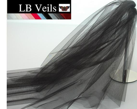 2 Tier Plain Black LB Veils 156 UK