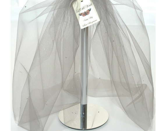 2 Tier Crystal Bouffant Silver Grey LB Veils 154 UK