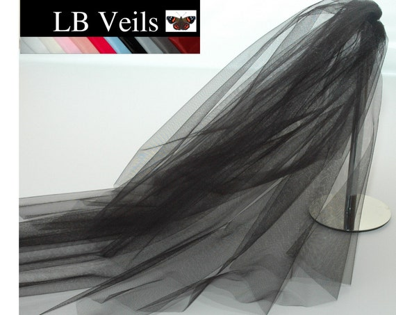 2 Tier Plain Black Wedding Veil LB Veils LBV156 UK