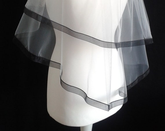 Black Ribbon Edge 2 Tier White Veil Plain or Crystal Wedding LB Veils LBV184 UK