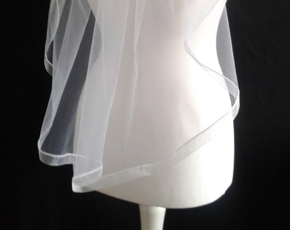 Ivory Ribbon Edge 1 Tier Veil Plain Wedding Any Colour Pink White Blue Black LB Veils LBV183 UK