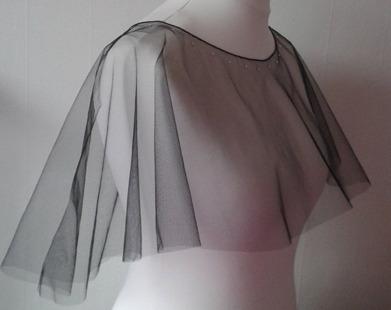Poncho Veil Black Plain or Crystal LB Veils LBV185 UK
