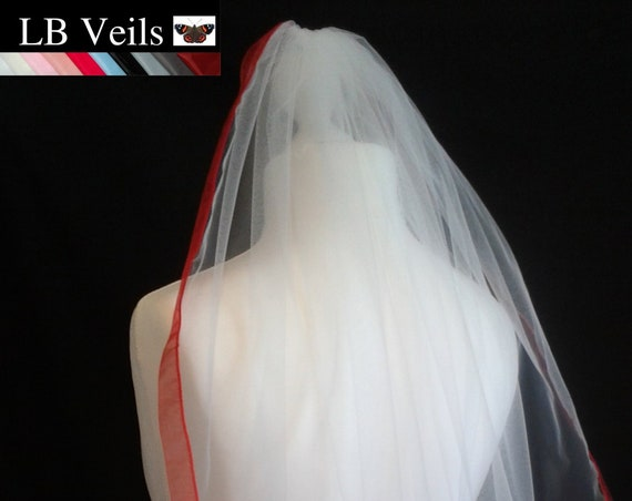 Red Ribbon Edge 1 Tier Veil Wedding  LB Veils LBV183 UK