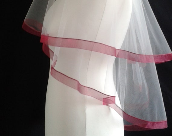 Dark Red Ribbon Edge 2 Tier Plain Wedding Veil LB Veils LBV184 UK