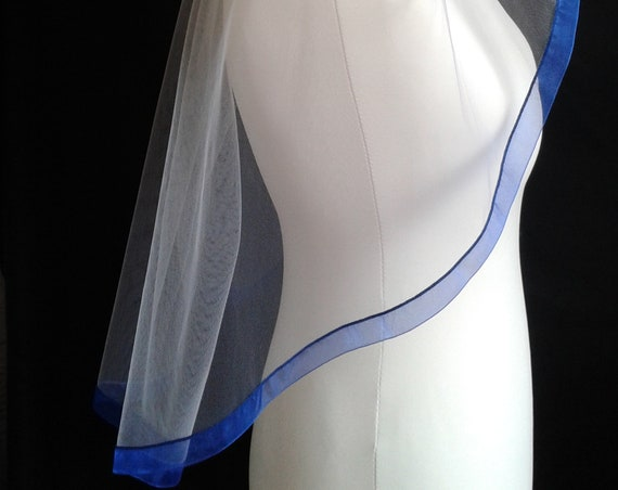 Royal Blue Ribbon Edge 1 Tier Veil Plain Wedding  LB Veils LBV183 UK
