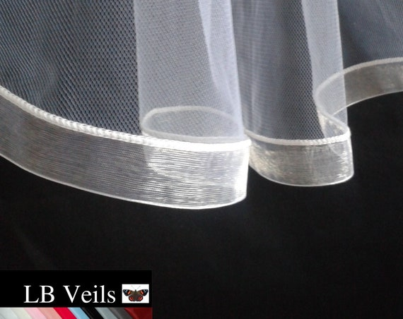 Ribbon Edge 2 Tier Veil Wedding Bridal Any Colour LB Veils LBV184 UK