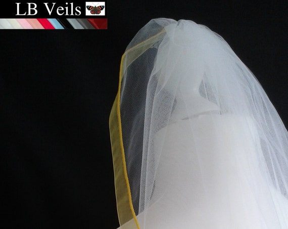 Yellow Ribbon Edge 1 Tier Veil Plain Wedding  LB Veils LBV183 UK