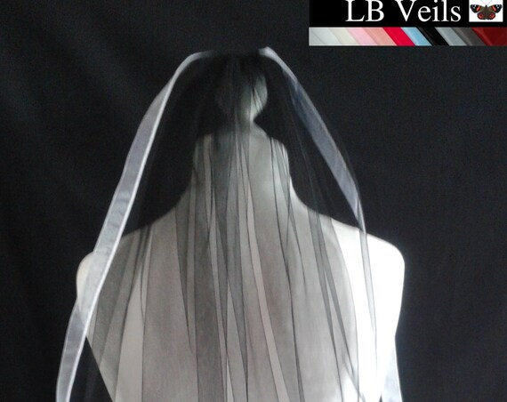 White Ribbon Edge 1 Tier Veil  Wedding  LB Veils LBV183 UK