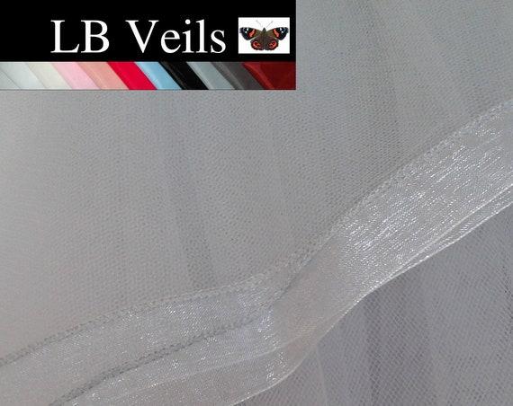 Grey Ribbon Edge Wedding Veil 2 Tier Plain LB Veils 184 UK