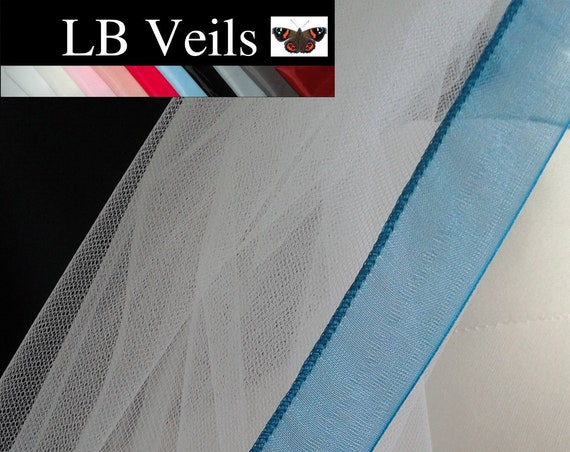 Teal Blue Ribbon Edge 1 Tier Veil Plain Wedding  LB Veils LBV183 UK