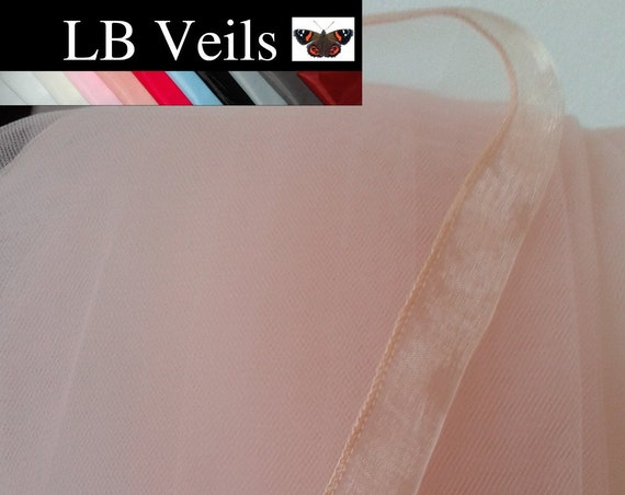Blush Pink Ribbon Edge 2 Tier Veil Plain Wedding Bridal LB Veils LBV184 UK
