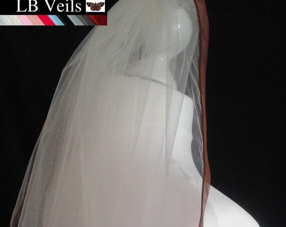 Brown Ribbon Edge 1 Tier Veil Plain Wedding  LB Veils LBV183 UK