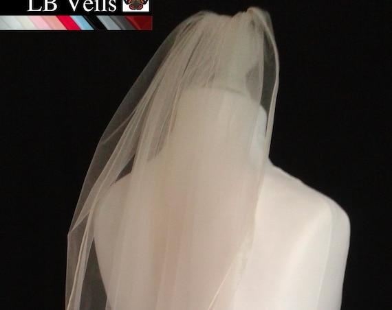 Ribbon Edge 1 Tier Veil Plain Wedding  LB Veils LBV183 UK