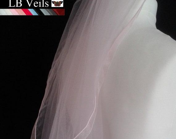 Ribbon Edge 1 Tier Veil Wedding Pink Blue Ivory White Cream LB Veils LBV183 UK