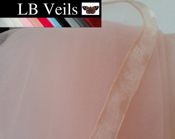 Blush Pink Ribbon Edge 2 Tier Plain Wedding Veil LB Veils 184 UK