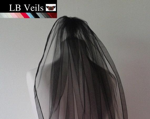 Black Ribbon Edge Veil 1 Tier Plain Wedding  LB Veils LBV183 UK