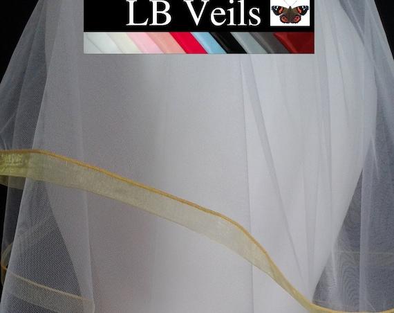 Yellow Ribbon Edge 2 Tier Veil Plain Wedding LB Veils LBV184 UK