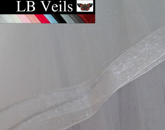 Grey Wedding Veil 1 Tier Ribbon Edge Wedding  LB Veils LBV183 UK