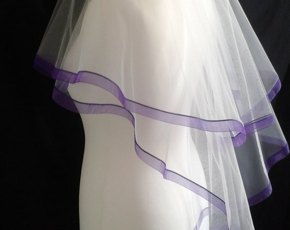 Purple Ribbon Edge 2 Tier Veil Plain Wedding Bridal LB Veils LBV184 UK