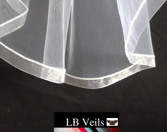 Ribbon Edge 1 Tier Wedding Veil Plain LB Veils LBV183 UK