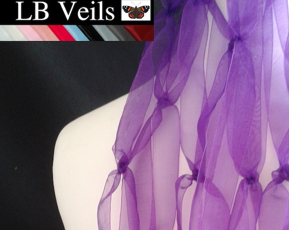 Purple Ribbon Veil Wedding Bridal Prom LB Veils LBV188 UK