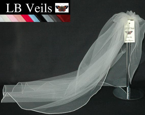 White Wedding Veil 1 Single Tier Plain LB Veils LBV143 UK