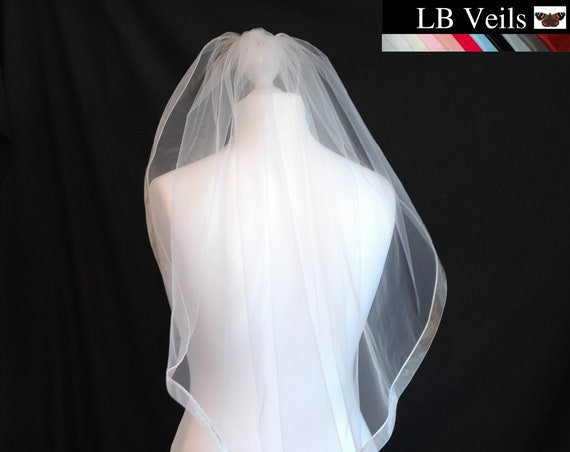 Ribbon, Edge, 1 Tier, Wedding, Veil, Any Colour, Organza, Beige, Blue, Ivory, Champagne, Length, Elbow, Fingertip, Short, LB Veils LBV183 UK